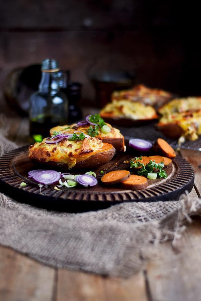 Süßkartoffel – Herzhaft gefüllt mit Pilzen und/oder Bacon im Ofen gebacken