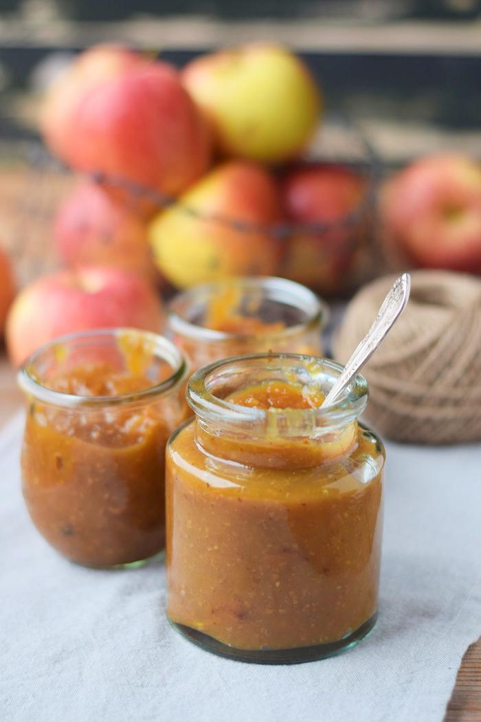 Herbst Bratapfel Marmelade mit Mandeln (2)