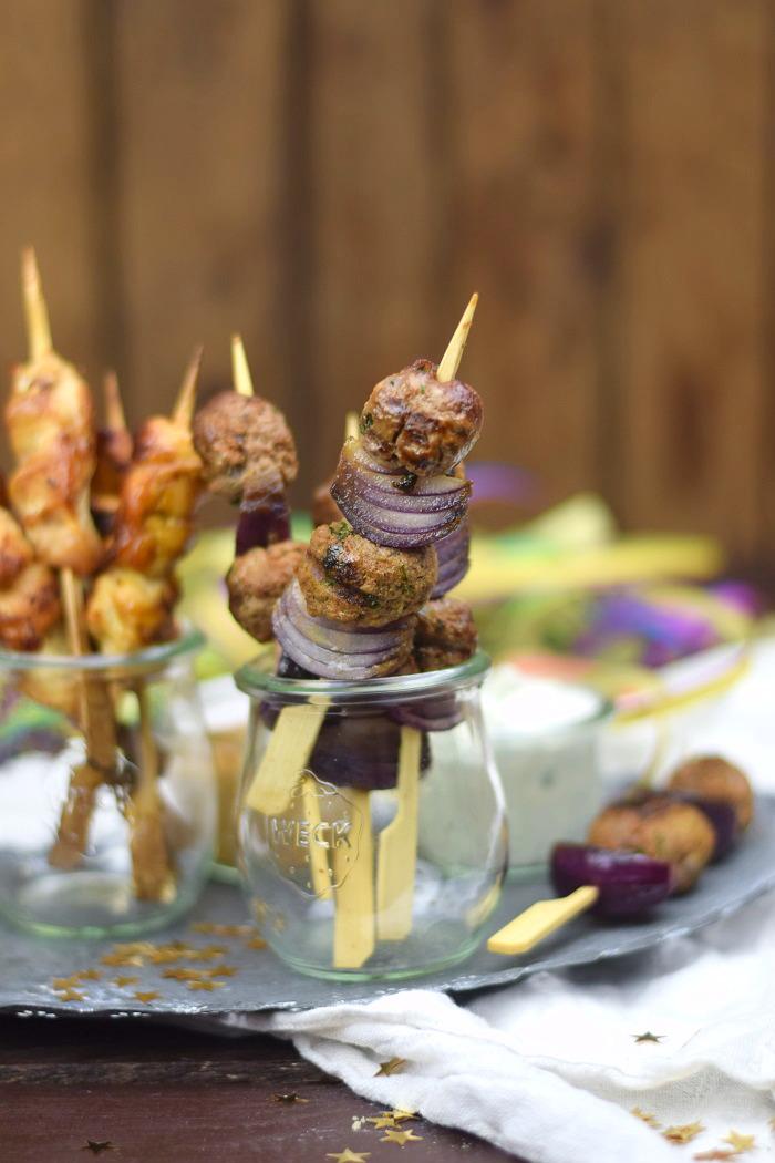 Raclette Spieße - Meatballs - Chicken Satay (2)