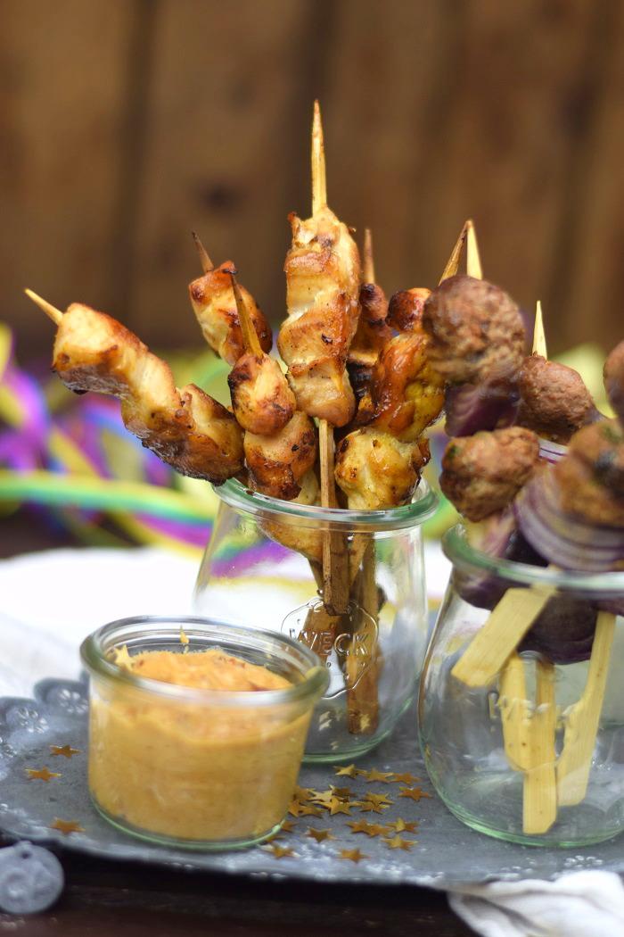 Raclette Spieße - Meatballs - Chicken Satay (3)