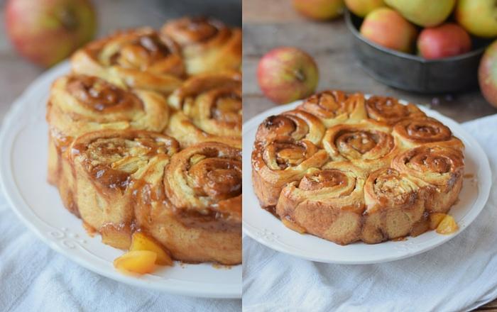 Karamell Zimtschnecken mit Apfel