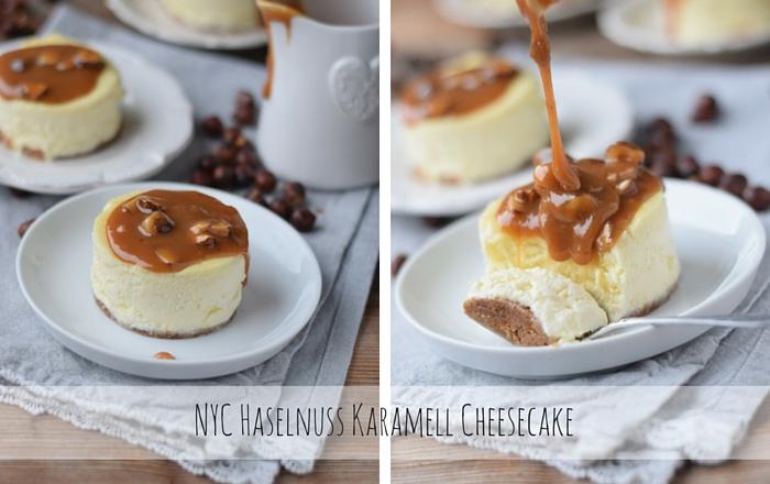 Cheesecake – New York Style mit Karamell und Haselnüssen