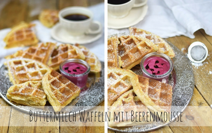 Buttermilch Waffeln mit Beerenmousse