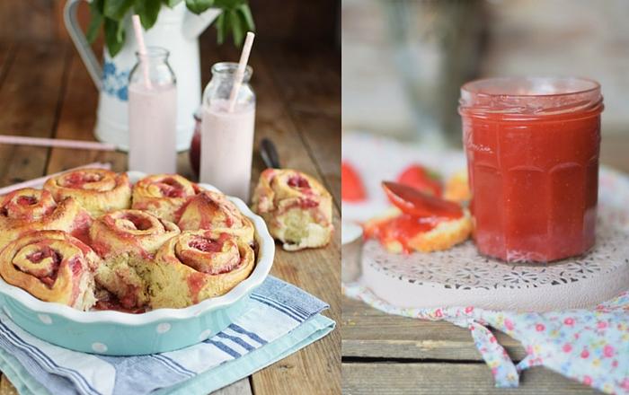 Erdbeer Rhabarber Schnecken & Marmelade