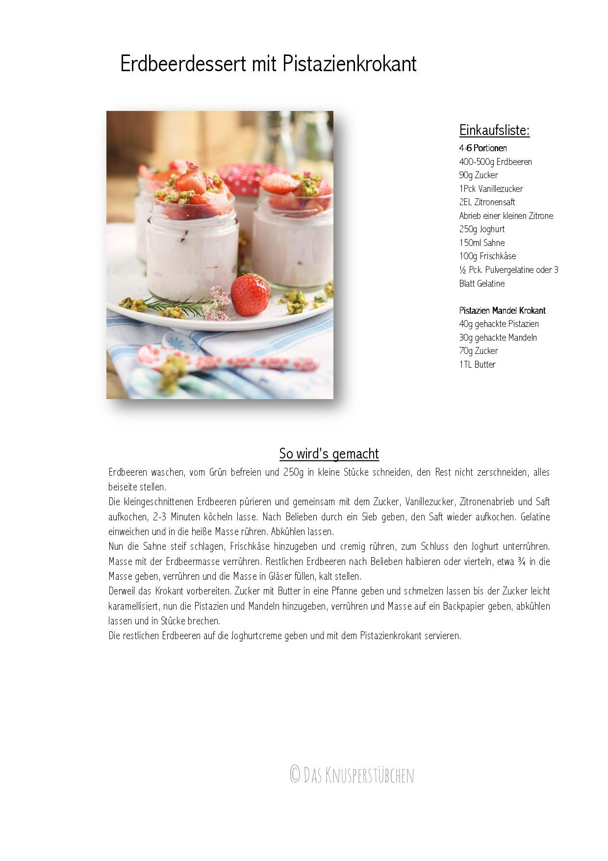 Erdbeerdessert mit Pistazienkrokant