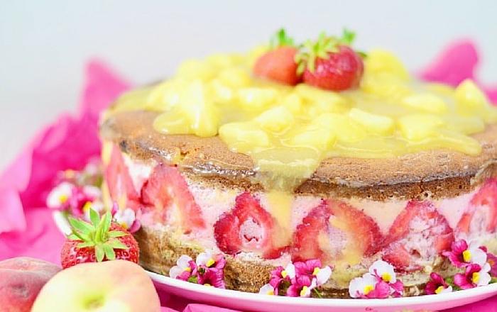 Pfirsich & Erdbeere – Torte oder Kuchen
