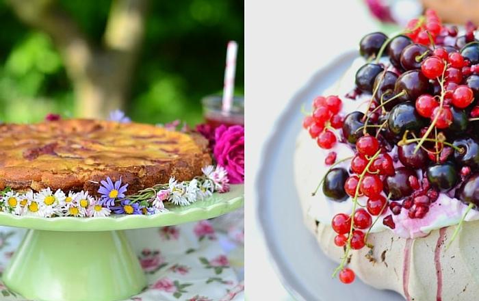 Sommer Kuchen Pavlova und Pfirsich Tarte