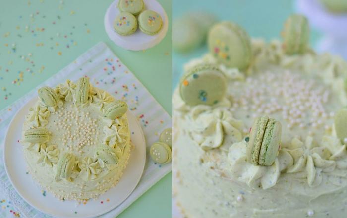Torte mit Pistazien & Macarons