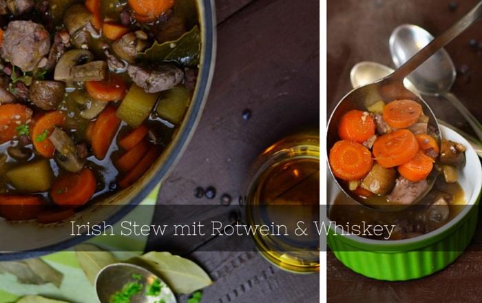 Irish Stew mit Rotwein, Whiskey und Pilzen
