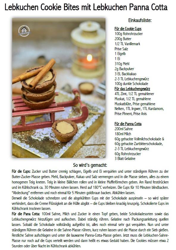 Lebkuchen Cookie Cups mit Lebkuchen Panna Cotta  Rezept
