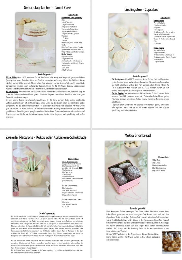 Rezepte Knusper o Clock - Carrot Cake - Kokos_und_Kürbiskern Macarons - Tee Cupcakes - Mokka Shortbread
