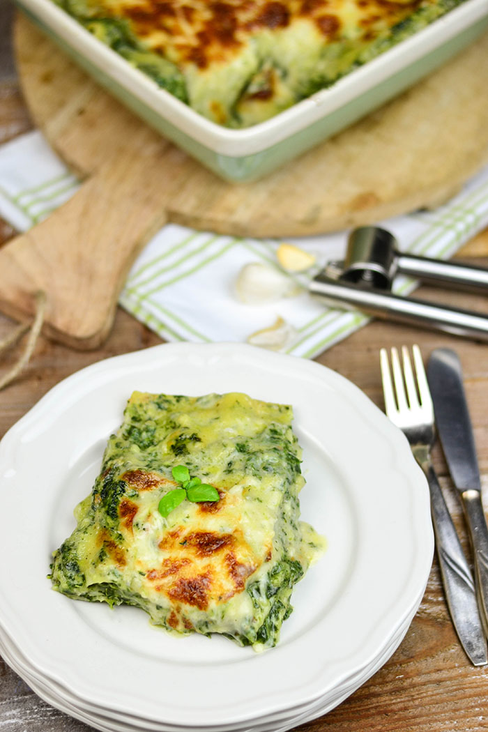 Spinat Lasagne mit Gorgonzola Portion