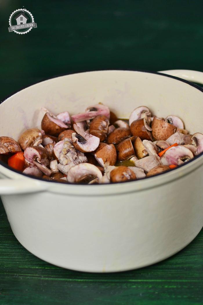 Stew mit Whiskey und Rotwein ungekocht