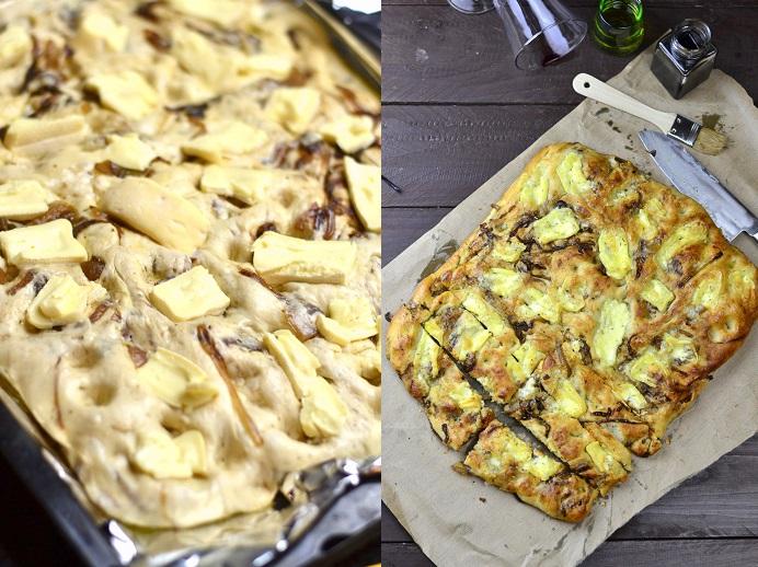 Focaccia mit karamellisierten Balsamicoessig Zwiebeln und Camembert 3-1