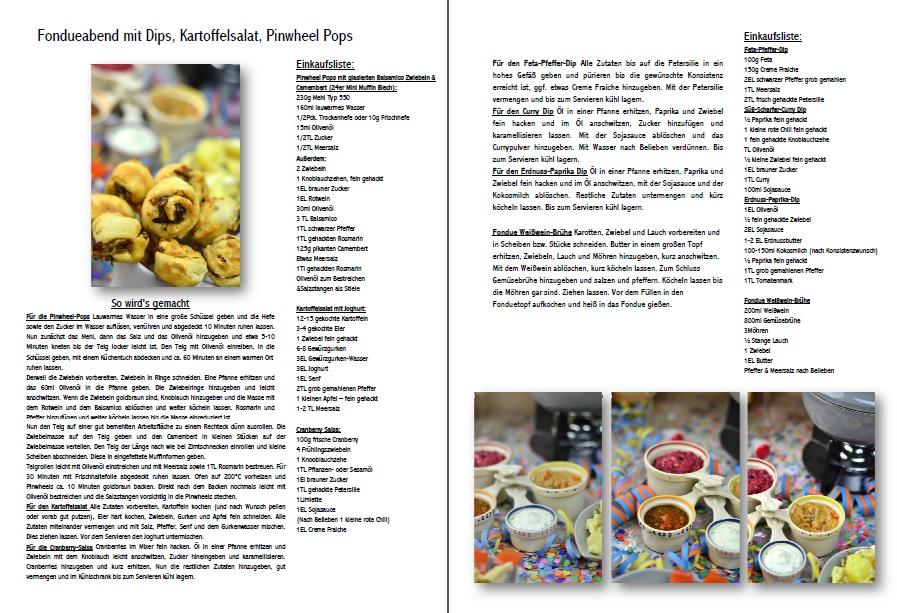 Fondueabend mit Pinwheels Pops Kartoffelsalat und Dips Cranberry Erdnuss Feta und Curry Rezepte