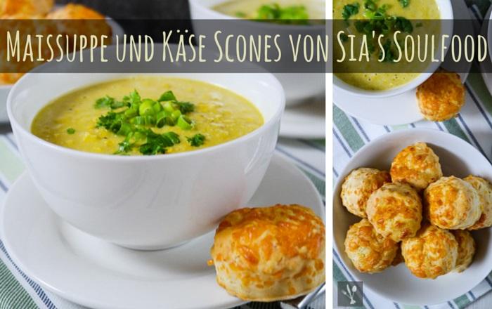 Maissuppe und Käse Scones