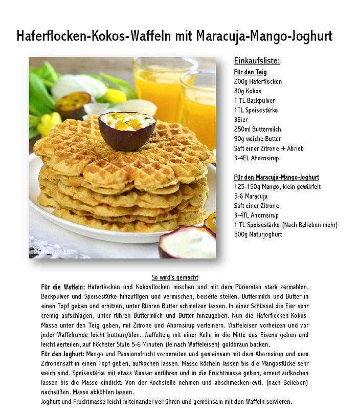 Haferflocken Kokos Waffeln mit Maracuja Mango Joghurt Rezept-001