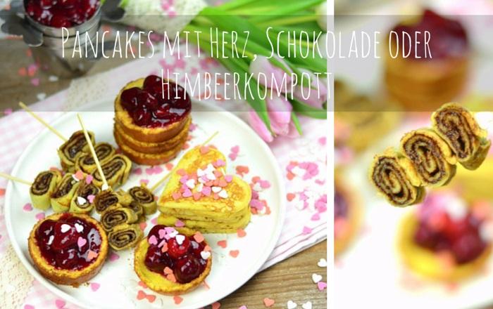 Pancakes mit Herz, Schokolade oder Himbeerkompott