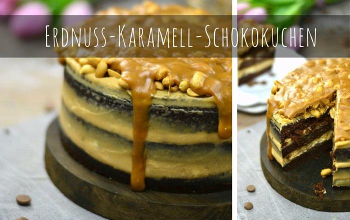 Erdnuss-Karamell-Schokokuchen oder Snickers in Kuchenform