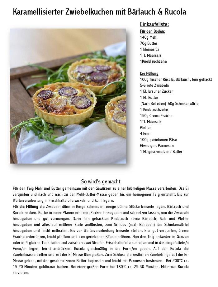 Karamellisierter Zwiebelkuchen mit Baerlauch und Rucola-001