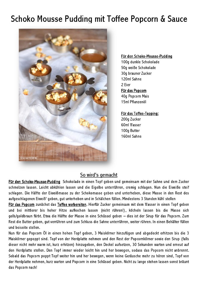 Schoko Mousse Puding mit Toffee Popcorn & Sauce-001
