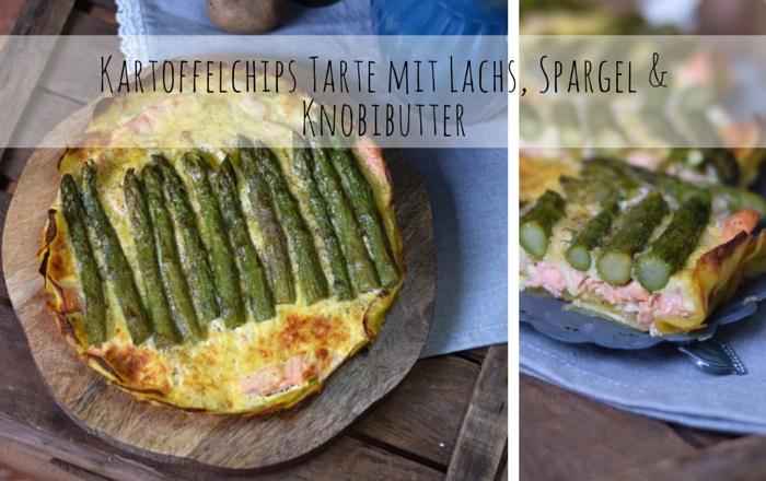 Kartoffelchips Tarte mit Lachs & Spargel