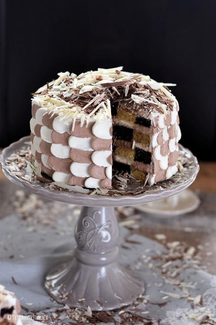 Schokolade Marzipan Schachbrett Torte 14