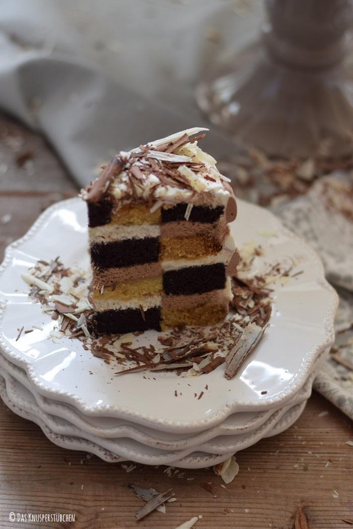 Schokolade Marzipan Schachbrett Torte 18