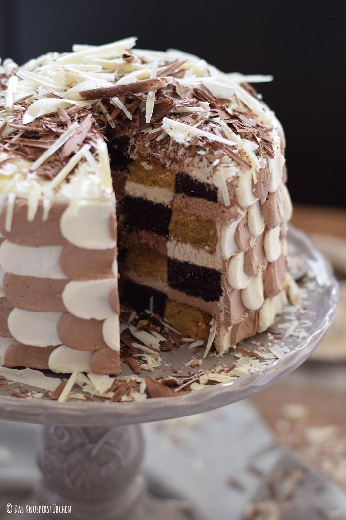 Schokolade Marzipan Schachbrett Torte 19