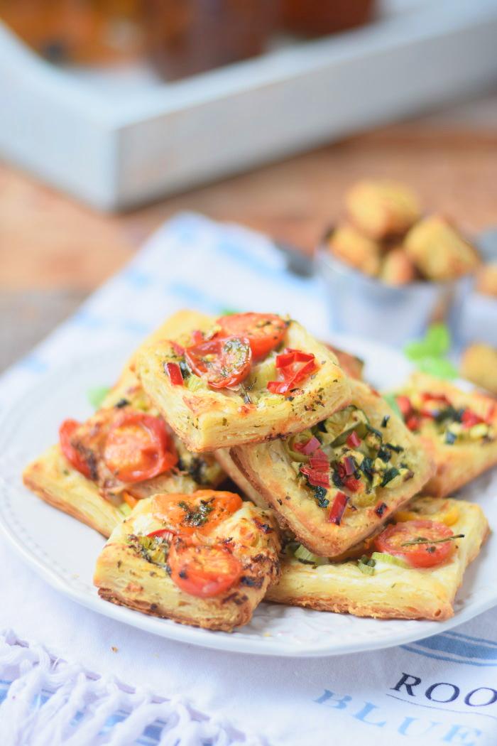 Blätterteig Selbstgemacht und Blätterteig Snack mit Tomaten und Basilikum 5
