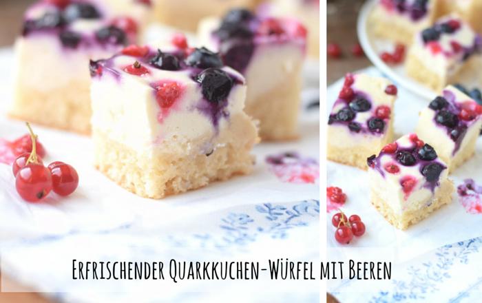 Quarkkuchen-Würfel mit Beeren