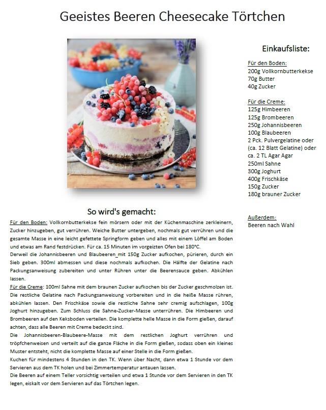 Geeistes Beeren Cheesecake Toertchen