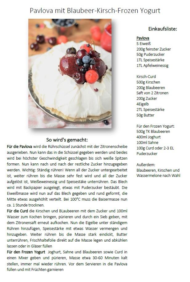 Rezept Pavlova mit Blaubeer Eis
