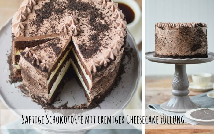 Schokotorte mit cremiger Cheesecake Füllung