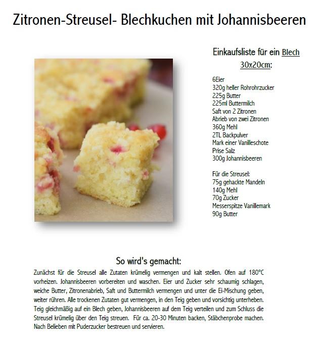 zitronen streusel kuchen mit Johannisbeeren Rezept