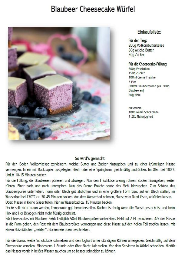 Blaubeer Cheesecake Picknick Rezept