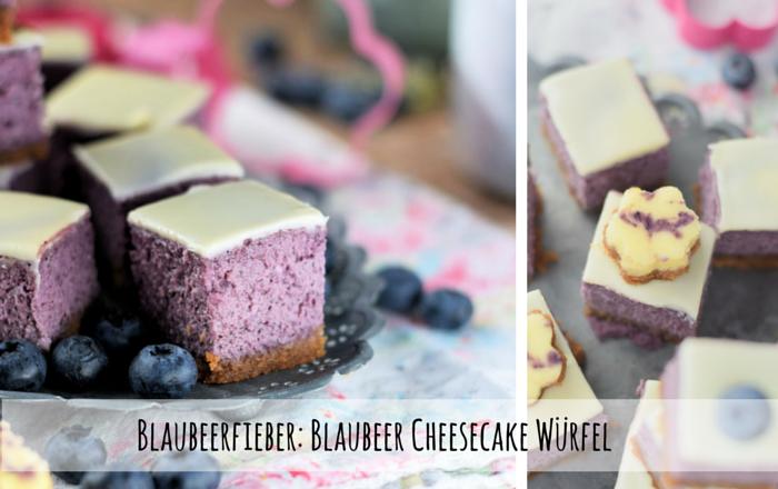 Cheesecake Würfel mit Blaubeeren für das Picknick