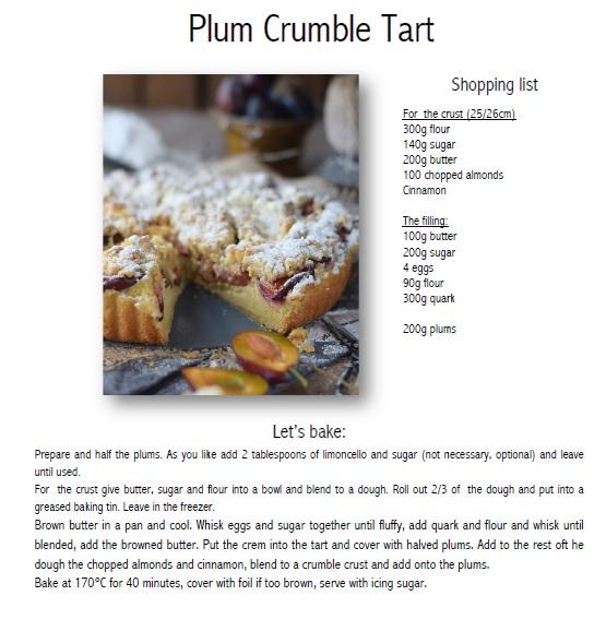 Plum crumble tart Recipe