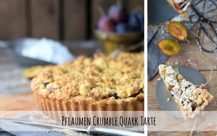 Pflaumen Crumble Quark Tarte