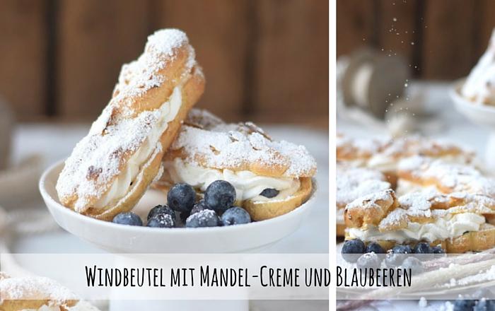 Windbeutel mit Mandel-Creme und Blaubeeren