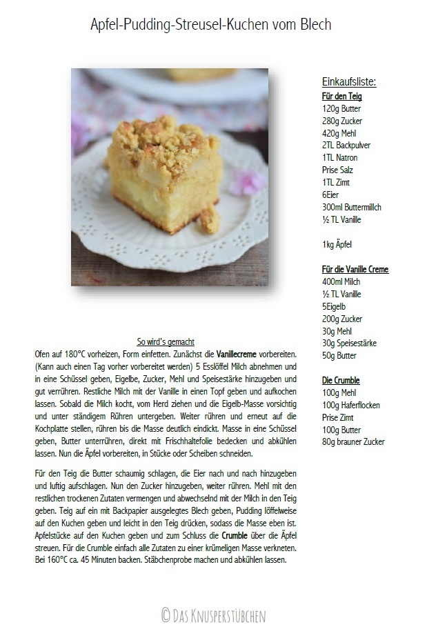 Apfel-Pudding-Streusel-Kuchen vom Blech #kuchen #rezept