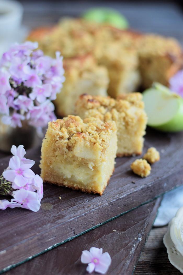Apfelkuchen mit Pudding und Streuseln #herbst #food #cake (2)
