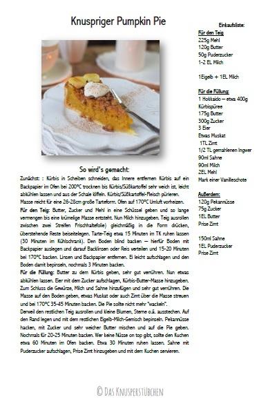 Knuspriger Pumpkin Pie - Kuerbis Kuchen mit Pekan Krokant Rezept