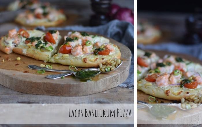 Pizza mit Lachs Basilikum  oder Liebe auf den zweiten Blick