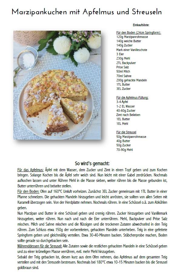Marzipankuchen mit Apfelmus und Streuseln Rezept