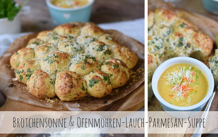 Parmesan Lauch Broetchensonne und Ofenmoehren Lauch Parmesan Suppe
