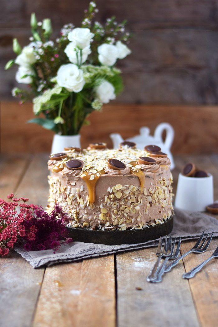 Karamell Nougat Haselnuss Toffifee Torte - Caramel Hazelnut Chocolate Cake (5)