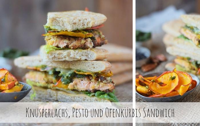 Knusperlachs, Pesto und Ofenkürbis – Ein Sandwich für Genießer (Werbung)