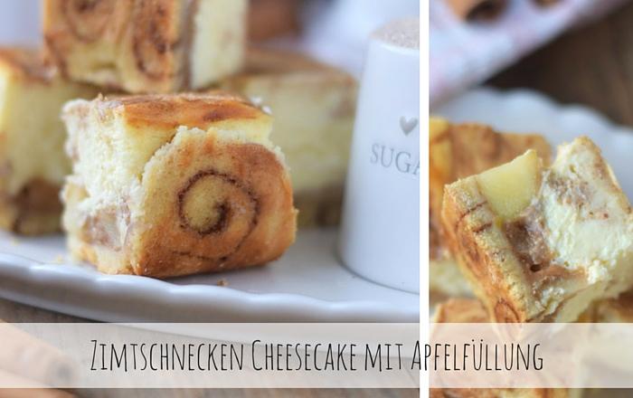 Zimtschnecken Cheesecake mit Apfelfüllung - Cinnamon Roll Cheesecake with apple compote filling