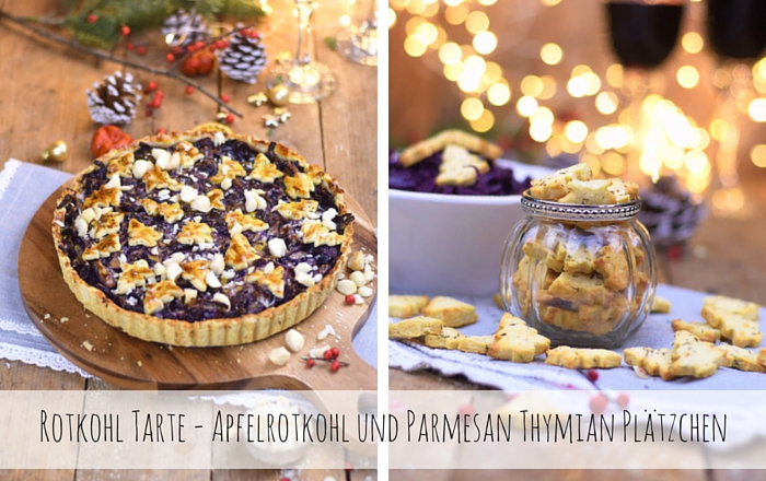 Rotkohl Tarte, Parmesan Plätzchen & Apfelrotkohl
